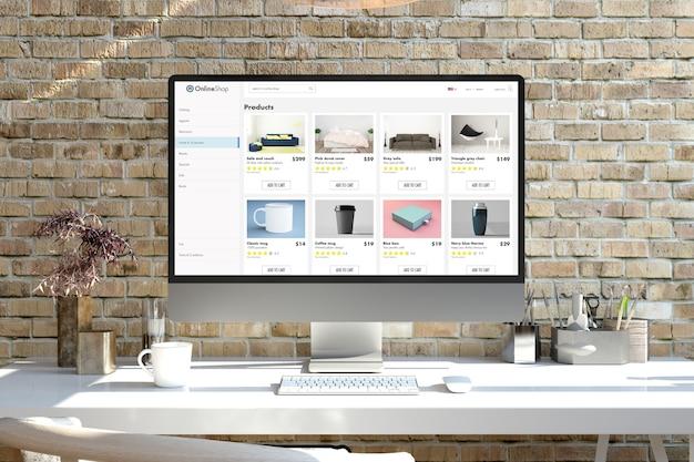 Computer dello schermo del negozio online su un rendering 3d desktop