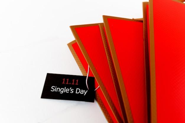 Acquisto in linea della cina, concetto di vendita di giorno del singolo 11.11. il tag di vendita di un solo giorno del biglietto 11.11.
