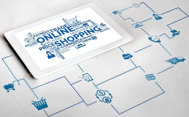 Acquisti in linea e tecnologia di transazione di pagamento di denaro su internet.
