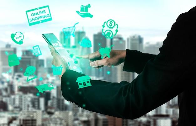 Acquisti online e tecnologia di transazione di pagamento di denaro su internet