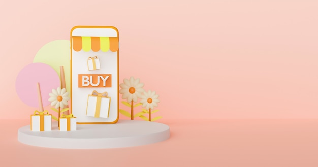Shopping online sul cellulare nel concetto di stagione autunnale. rendering 3d.