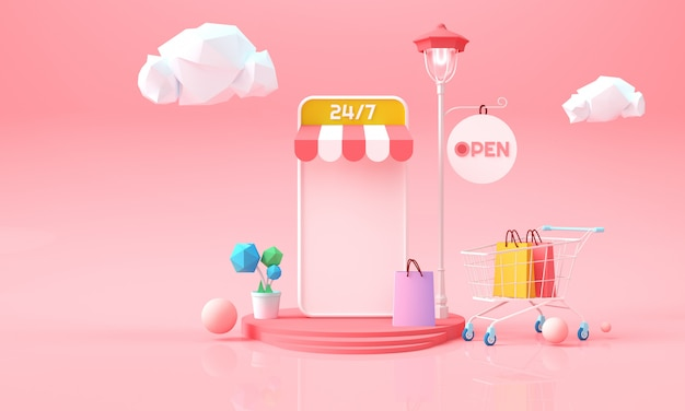 Shopping online al telefono. sfondo di marketing online per pubblicità, banner, brochure e modello web. illustrazione di rendering 3d.