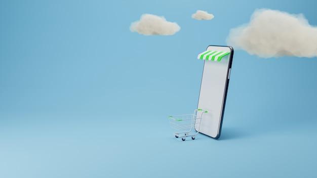 Acquisti online. smartphone trasformato in negozio online. concetto di marketing mobile. rendering 3d.