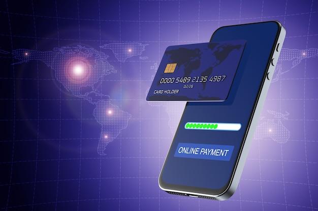 Acquisti online nei negozi da uno smartphone. pagamento senza contatto. paga con il tuo smartphone. e-commerce, e-commerce, concetti di pagamento mobile. elementi grafici moderni. rendering 3d.