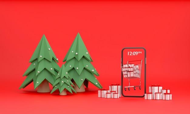 Shopping online un carrello del supermercato pieno di scatole regalo fuori dallo schermo del cellulare sul tema natalizio