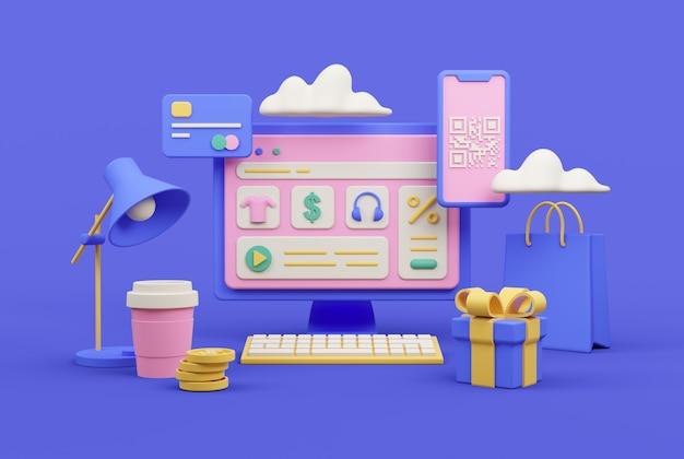 Composizione del tema dello shopping online. rendering 3d sul posto di lavoro.