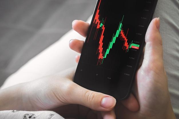 Software di borsa online per cellulare. schermo con grafici finanziari. investimento e scambio foto di sfondo