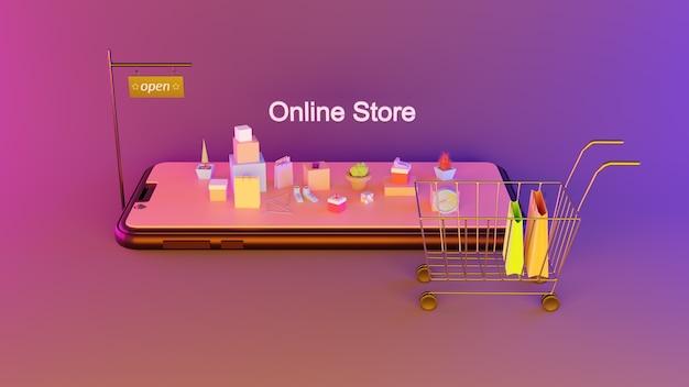 Negozio online su applicazione mobile. marketing digitale. negozio online 24 ore su 24.
