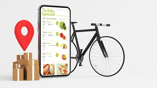 Rendering 3d di app di consegna supermercato online