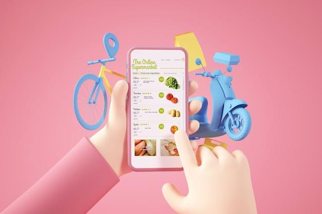 Rendering 3d di concetto di consegna supermercato online