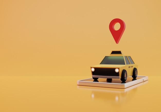Illustrazione di taxi online, rendering 3d