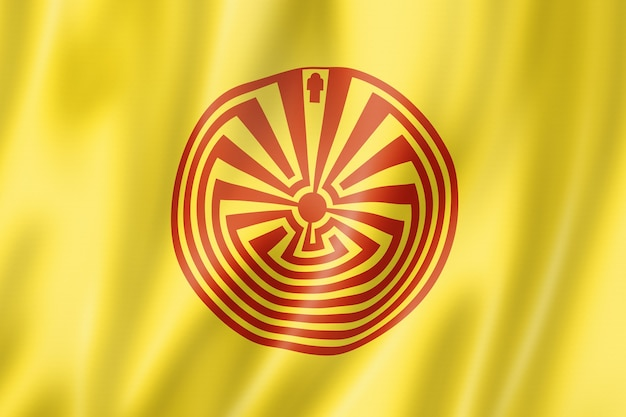 Bandiera etnica di oodham, raccolta d'ondeggiamento della bandiera del messico. illustrazione 3d