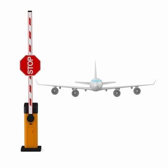 Apra la barriera e l'aeroplano automatici su fondo bianco. illustrazione 3d isolata