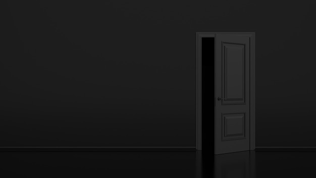 Porta nera aperta con oscurità spaventosa