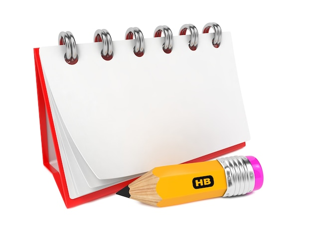 Aprire il taccuino del desktop vuoto con la matita. isolato su bianco.