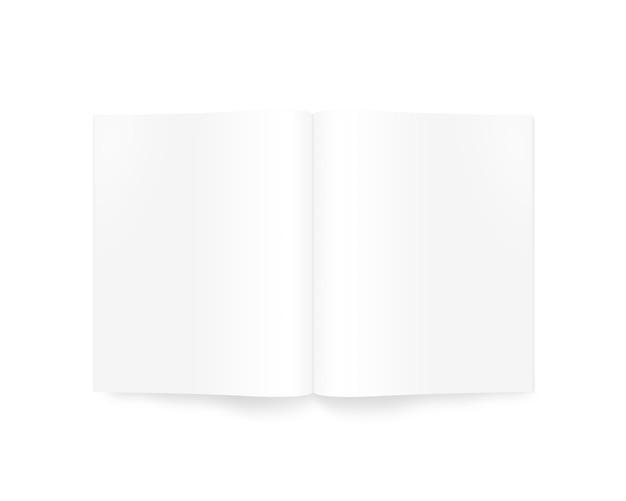 Apra la rivista in bianco isolata su bianco