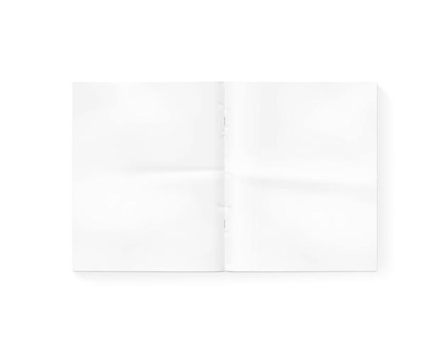 Apra il giornale in bianco isolato su bianco