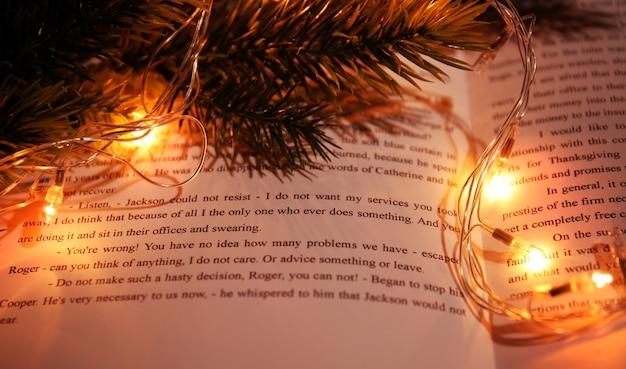 Libro aperto, ramo di conifere e ghirlanda, primo piano