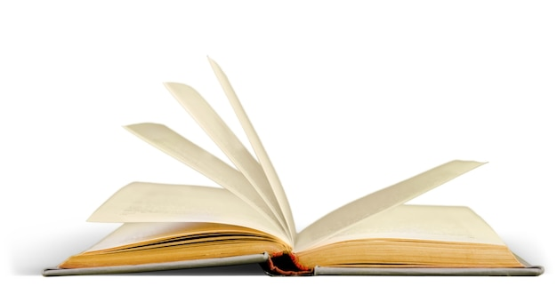 Libro aperto isolato su sfondo bianco