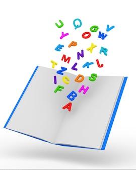 Libro aperto con lettere colorate isolato su bianco