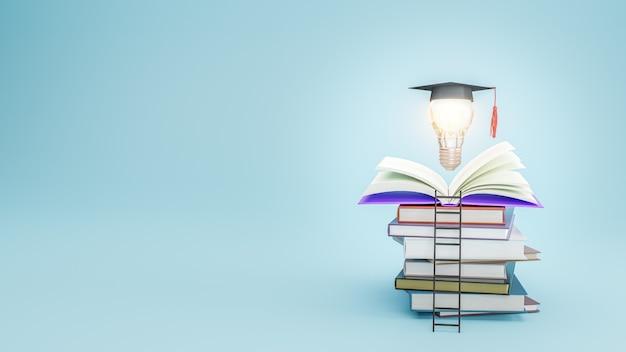 Libro aperto con cappello di laurea sulla lampadina. istruzione, apprendimento a scuola e università o concetto di idea. illustrazione 3d