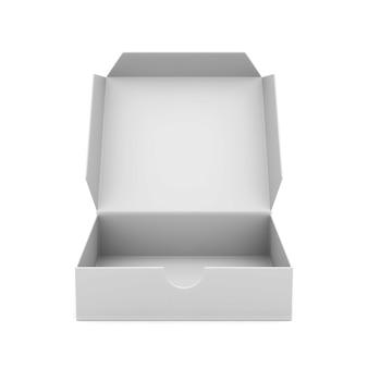 Casella aperta su sfondo bianco. illustrazione 3d isolata