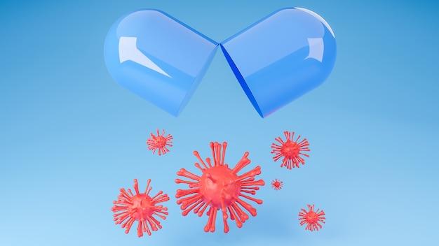Pillola capsula aperta con coronavirus rosso o covid-19