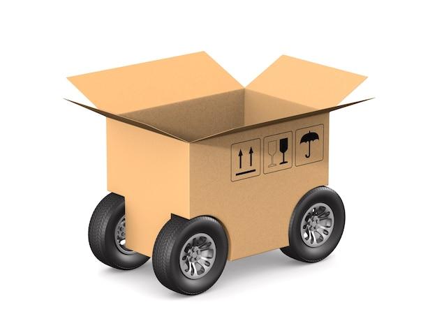 Contenitore di carico aperto con ruota su bianco.
