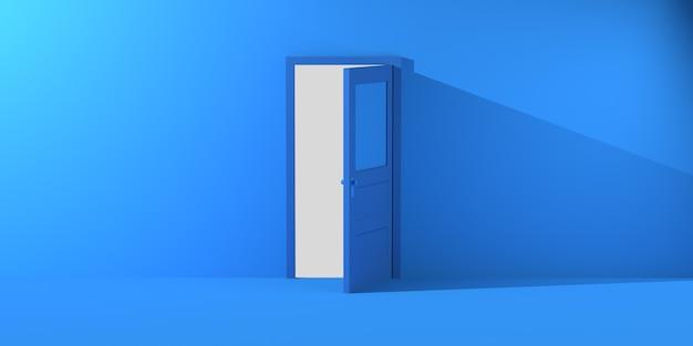 Porta aperta che proietta ombra. copia spazio. illustrazione 3d.