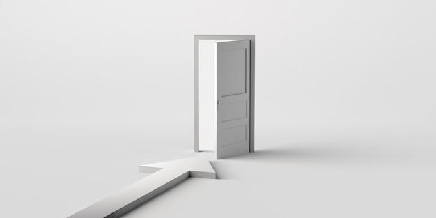 Porta aperta con la freccia che la indica. copia spazio. illustrazione 3d.