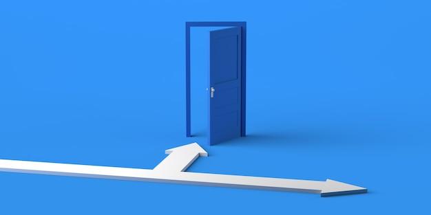 Porta aperta con frecce biforcute. copia spazio. illustrazione 3d.