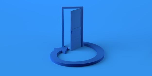Porta aperta con freccia circolare in loop. copia spazio. illustrazione 3d.