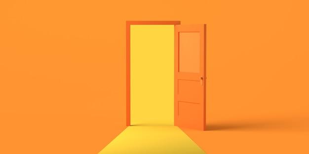 Porta aperta con luce su sfondo arancione. copia spazio. illustrazione 3d.