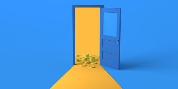 Porta aperta con molte monete. copia spazio. illustrazione 3d.