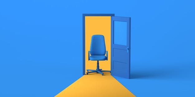 Porta aperta con sedia da ufficio. copia spazio. illustrazione 3d.