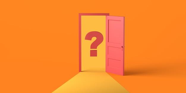 Porta aperta con punto interrogativo. copia spazio. illustrazione 3d.