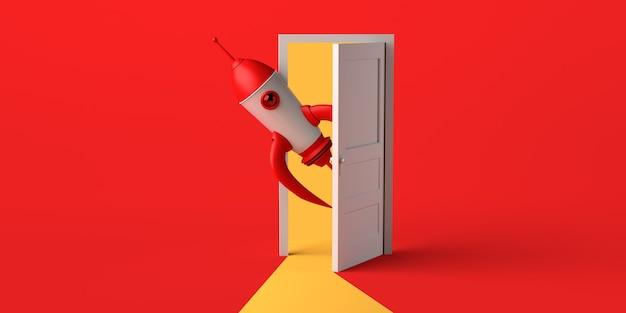 Porta aperta con il razzo che esce. copia spazio. illustrazione 3d.