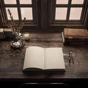 Apri il libro vuoto sulla scrivania di legno nella vecchia stanza con libri antichiscrivania per scrittori retrò
