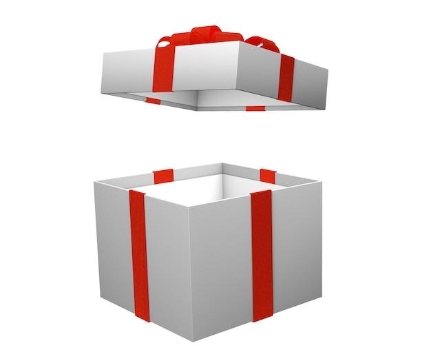 Aprire la scatola vuota per regali con nastro rosso isolato su sfondo bianco. rendering 3d. modello