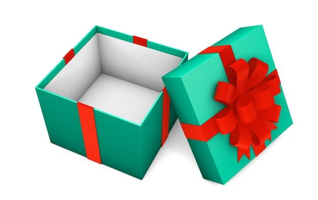 Apra il contenitore di regalo verde vuoto con il nastro rosso isolato su fondo bianco. rendering 3d. modello