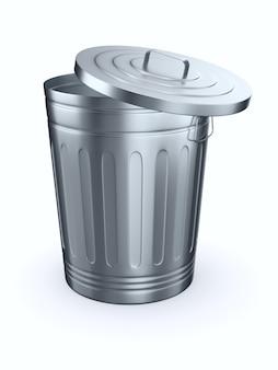 Aprire il cestino della spazzatura. isolato, rendering 3d