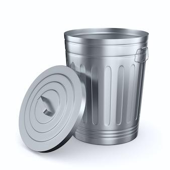 Aprire il cestino dell'immondizia su uno spazio bianco