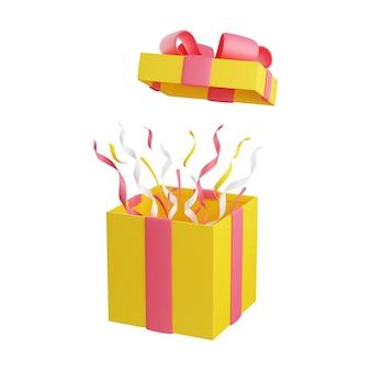 Scatola regalo aperta con berretto volante e rendering 3d di coriandoli