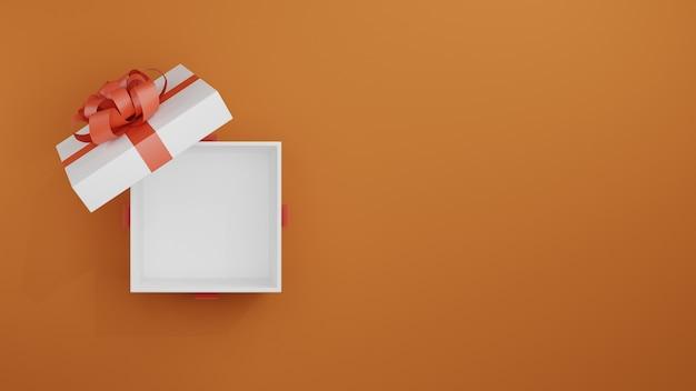 Rendering 3d di giftbox aperto. giftbox con illustrazione 3d area vuota