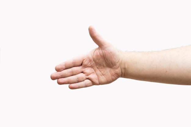 Mano aperta tesa per ricevere una stretta di mano o un saluto. sfondo bianco.
