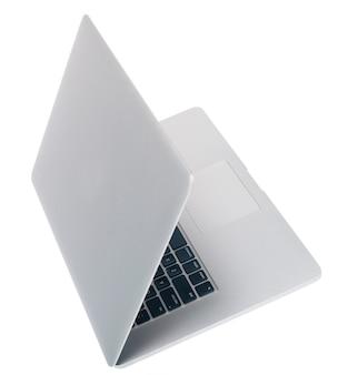 Aprire il computer portatile su sfondo bianco vista dall'alto vista laterale isolare