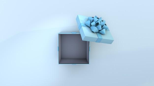 Contenitore di regalo di lusso aperto isolato. contenitore di scatola blu e concetto di compleanno