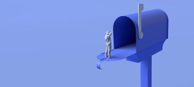 Cassetta postale aperta per lettere su sfondo blu. illustrazione 3d. copia spazio.