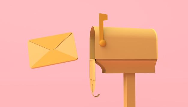 Cassetta postale aperta per lettere su sfondo rosa. illustrazione 3d. copia spazio.