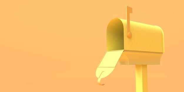 Cassetta postale aperta per lettere su sfondo giallo. illustrazione 3d. copia spazio.